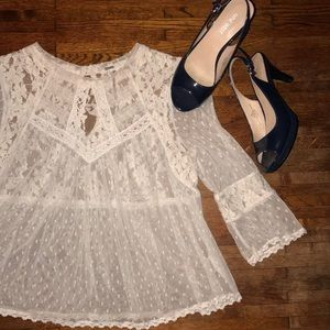 💙Free People Lace Crop Blouse💕